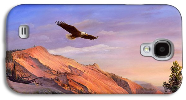 Flying American Bald Eagle Mountain Landscape Painting - American West - Western Decor - Bird Art Galaxy S4 Case