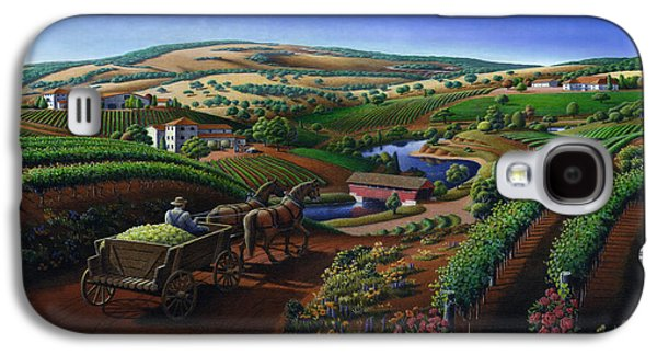 Old Wine Country Landscape - Delivering Grapes To Winery - Vintage Americana Galaxy S4 Case
