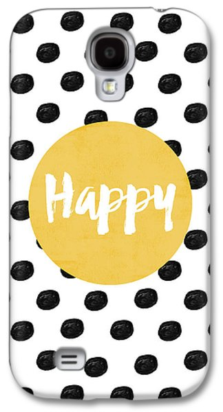 Happy Yellow And Dots Galaxy S4 Case by Allyson Johnson