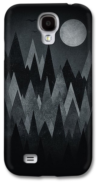 Dark Mystery Abstract Geometric Triangle Peak Woods Black And White Galaxy S4 Case