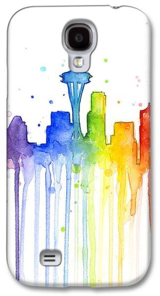 Seattle Rainbow Watercolor Galaxy S4 Case by Olga Shvartsur