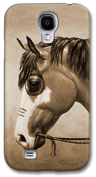 Buckskin War Horse In Sepia Galaxy S4 Case by Crista Forest
