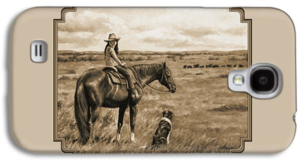 Little Cowgirl On Cattle Horse In Sepia Galaxy S4 Case by Crista Forest