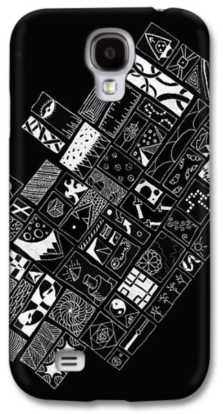 White On Black Abstract Art Galaxy S4 Case by Edward Fielding