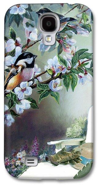 Chickadees In Blossom Tree Galaxy S4 Case by Regina Femrite