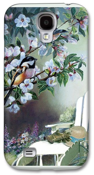 Chickadees In Blossom Tree Galaxy S4 Case by Regina Femrite