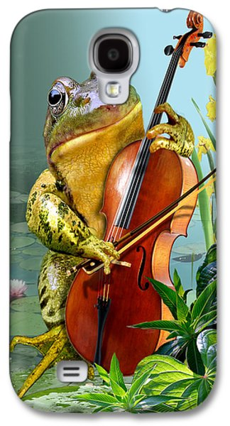 Humorous Scene Frog Playing Cello In Lily Pond Galaxy S4 Case by Regina Femrite