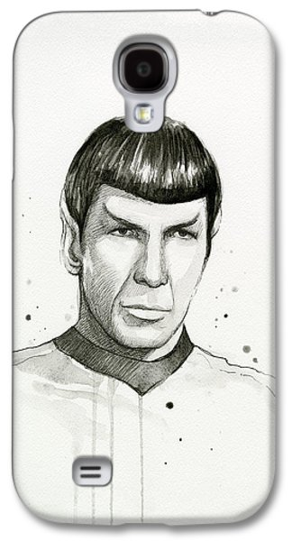 Spock Watercolor Portrait Galaxy S4 Case by Olga Shvartsur