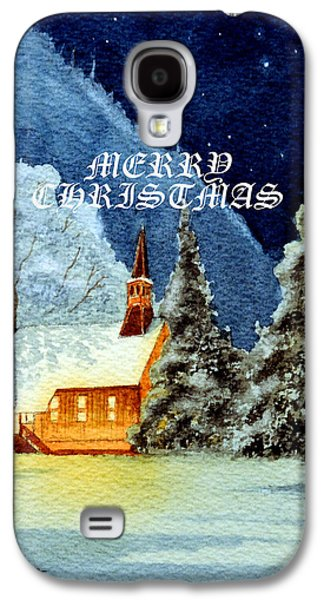 Merry Christmas Card Yosemite Valley Chapel Galaxy S4 Case by Bill Holkham