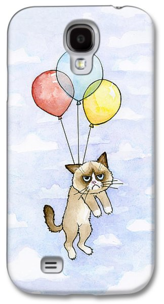 Grumpy Cat And Balloons Galaxy S4 Case by Olga Shvartsur
