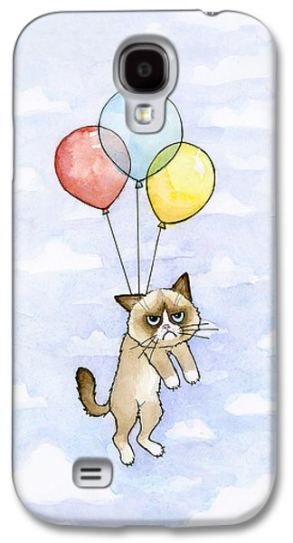 Cat Galaxy S4 Case - Grumpy Cat And Balloons by Olga Shvartsur