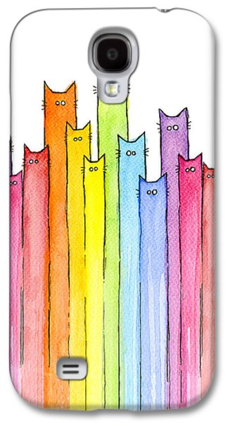 Cat Galaxy S4 Case - Cat Rainbow Watercolor Pattern by Olga Shvartsur