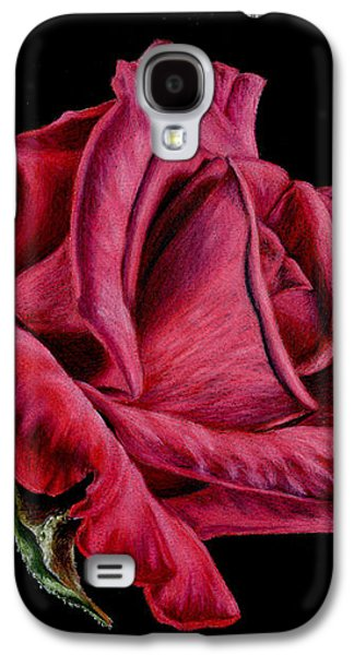 Red Rose On Black Galaxy S4 Case by Sarah Batalka
