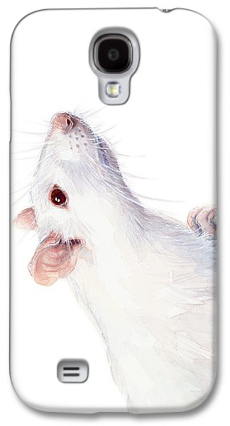 Mice Galaxy S4 Case - White Albino Rat Watercolor by Olga Shvartsur