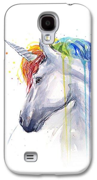 Unicorn Rainbow Watercolor Galaxy S4 Case by Olga Shvartsur