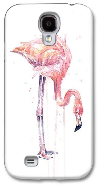 Flamingo Painting Watercolor Galaxy S4 Case by Olga Shvartsur