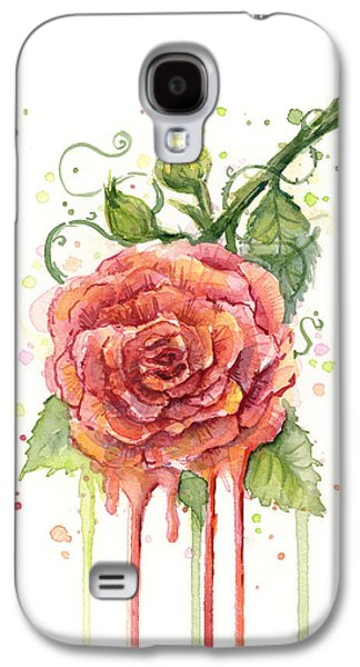 Rose Galaxy S4 Case - Red Rose Dripping Watercolor  by Olga Shvartsur