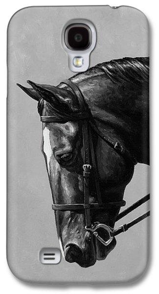 Dark Brown Dressage Horse Black And White Galaxy S4 Case