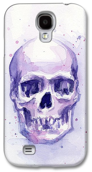 Skull Watercolor Purple Galaxy S4 Case