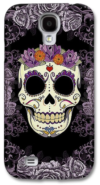 Vintage Sugar Skull And Roses Galaxy S4 Case by Tammy Wetzel