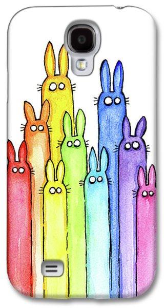 Bunny Rabbits Watercolor Rainbow Galaxy S4 Case by Olga Shvartsur