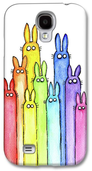 Bunny Rabbits Watercolor Rainbow Galaxy S4 Case by Olga Shvartsur