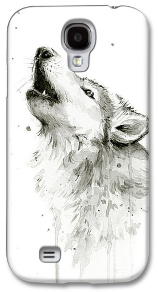 Howling Wolf Watercolor Galaxy S4 Case by Olga Shvartsur