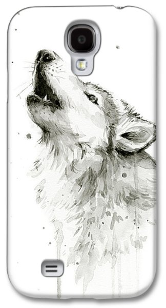 Howling Wolf Watercolor Galaxy S4 Case