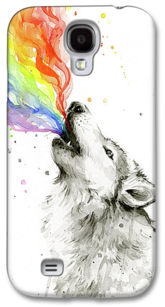 Wolf Rainbow Watercolor Galaxy S4 Case by Olga Shvartsur