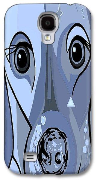 Dachshund In Blue Galaxy S4 Case by Eloise Schneider