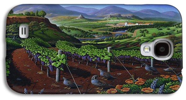 Quail Strolling Along Vineyard Wine Country Landscape - Vintage Americana Galaxy S4 Case