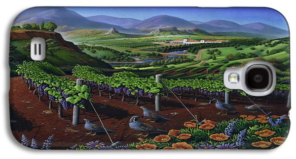 Quail Strolling Along Vineyard Wine Country Landscape - Square Format - Folk Art - Viticulture Galaxy S4 Case by Walt Curlee