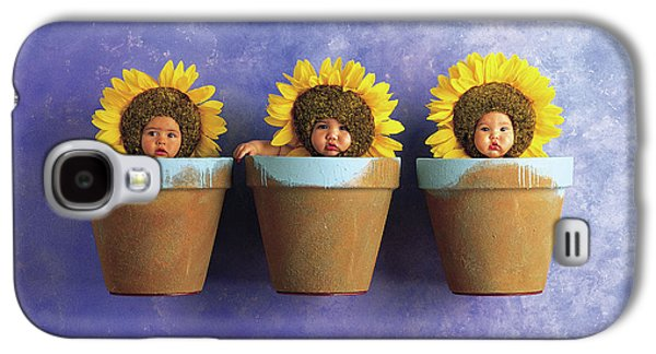 Sunflower Galaxy S4 Case - Sunflower Pots by Anne Geddes