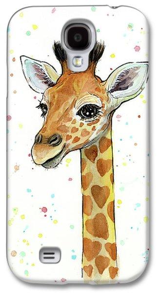 Baby Giraffe Watercolor With Heart Shaped Spots Galaxy S4 Case by Olga Shvartsur