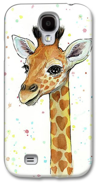 Baby Giraffe Watercolor With Heart Shaped Spots Galaxy S4 Case by Olga Shvartsur