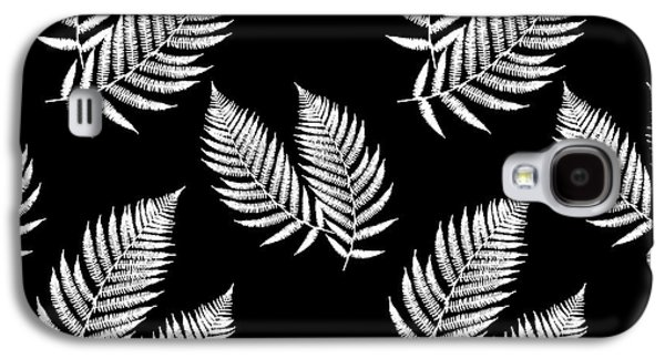 Galaxy S4 Case featuring the mixed media Fern Pattern Black And White by Christina Rollo