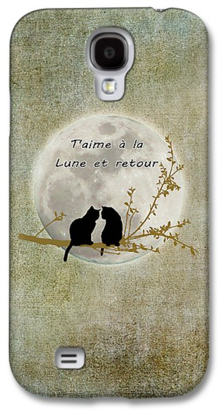Galaxy S4 Case featuring the digital art T'aime A La Lune Et Retour by Linda Lees