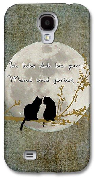 Galaxy S4 Case featuring the digital art Ich Liebe Dich Bis Zum Mond Und Zuruck  by Linda Lees