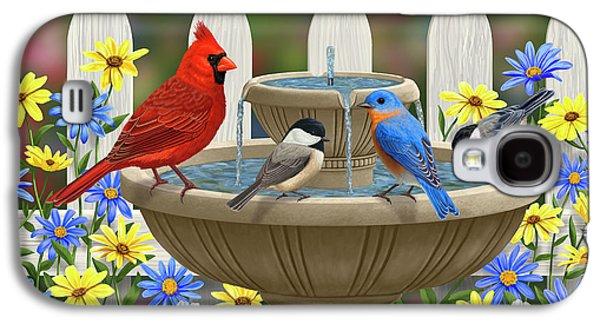 The Colors Of Spring - Bird Fountain In Flower Garden Galaxy S4 Case
