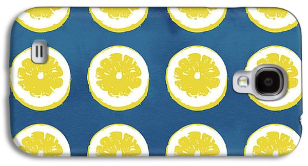Sliced Lemons On Blue- Art By Linda Woods Galaxy S4 Case by Linda Woods
