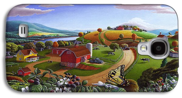 Folk Art Blackberry Patch Rural Country Farm Landscape Painting - Blackberries Rustic Americana Galaxy S4 Case by Walt Curlee