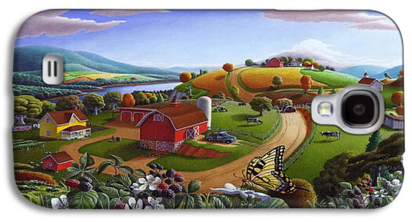 Folk Art Blackberry Patch Rural Country Farm Landscape Painting - Blackberries Rustic Americana Galaxy S4 Case