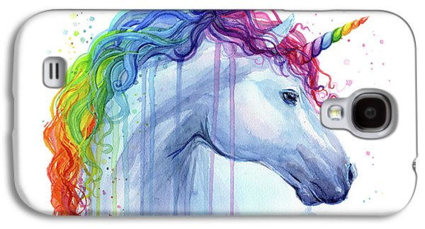Magician Galaxy S4 Case - Rainbow Unicorn Watercolor by Olga Shvartsur