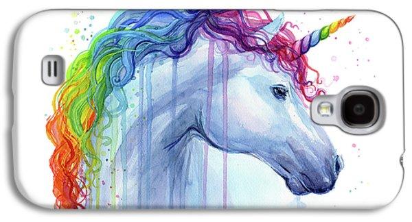 Unicorn Galaxy S4 Case - Rainbow Unicorn Watercolor by Olga Shvartsur