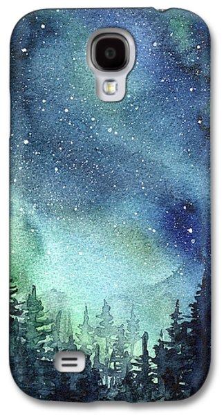 Constellations Galaxy S4 Case - Galaxy Watercolor Aurora Painting by Olga Shvartsur