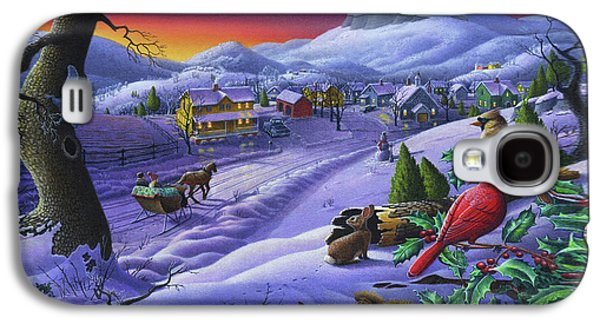 Cardinal Galaxy S4 Case -  Christmas Sleigh Ride Winter Landscape Oil Painting - Cardinals Country Farm - Small Town Folk Art by Walt Curlee