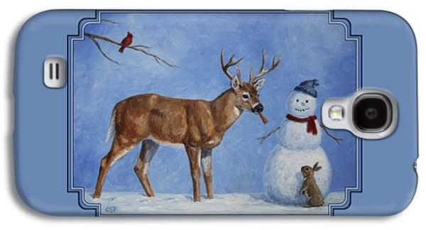 Whitetail Deer And Snowman - Whose Carrot? Galaxy S4 Case