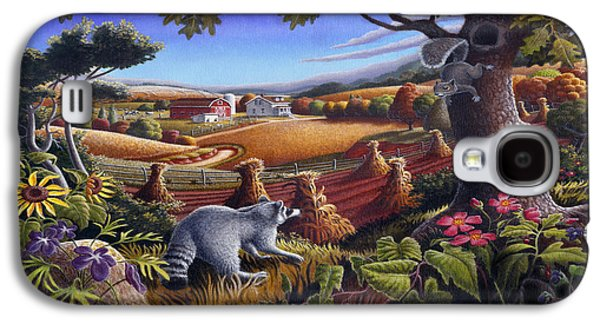 Raccoon Galaxy S4 Case - Rural Country Farm Life Landscape Folk Art Raccoon Squirrel Rustic Americana Scene  by Walt Curlee
