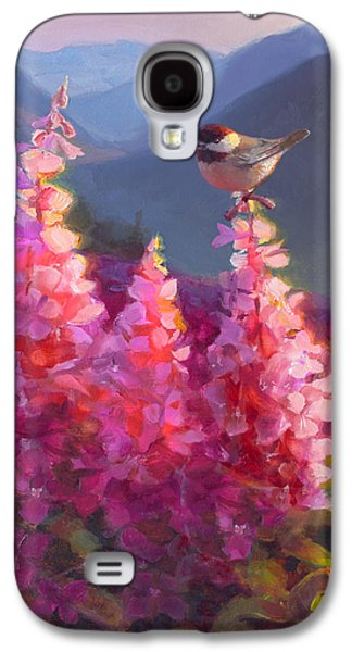Eagle River Summer Chickadee And Fireweed Alaskan Landscape Galaxy S4 Case