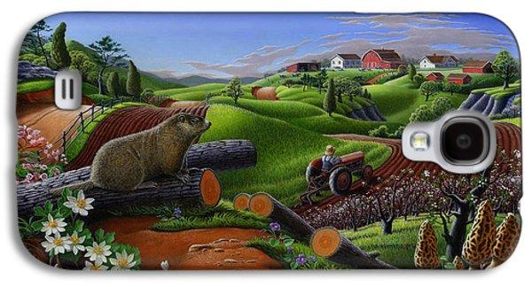 Farm Folk Art - Groundhog Spring Appalachia Landscape - Rural Country Americana - Woodchuck Galaxy S4 Case by Walt Curlee